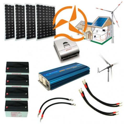 Kit hybride complet solaire et éolien 2 500 à 5 000 Wh - haute puissance