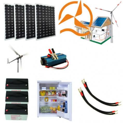 kit hybride complet solaire et olien 600 1800 wh avec r frig rateur. Black Bedroom Furniture Sets. Home Design Ideas