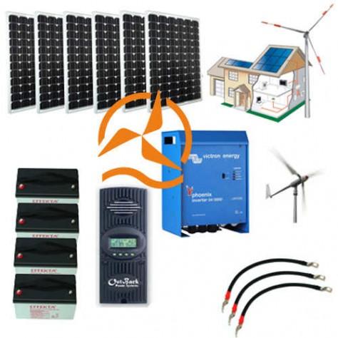 Kit hybride complet solaire et éolien 4 000 à 8 500 Wh - très haute puissance